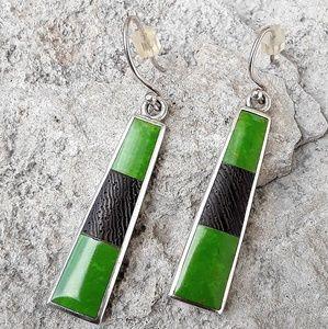 Cute Vtg Sterling Green Turquoise Dangle Earrings